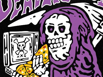 Deadlicious poster clothing apparel tshirts lowbrow cartoon vintage retro food eating pizza scythe reaper skeleton illustration