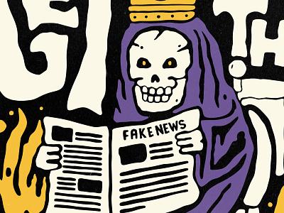 Get rid of that nonsense cartoon vintage retro tshirts apparel flames fake news newspaper wc toilet skeleton illustration