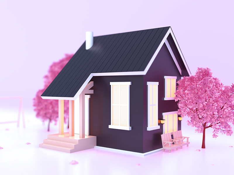 Transitional style building c4d