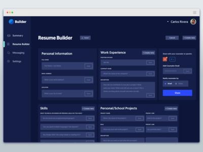 Resume Builder - Dashboard desktop ux ui dashboard builder resume
