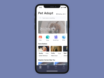 Pet Adoption App ios x iphone app ux  ui ux concept artiom dashinsky exercise productdesign
