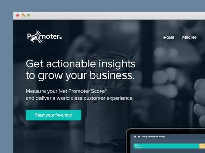 Promoter.io marketing site promoter bps blur bar chart blue green customer parallax