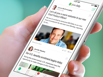 Jive Daily News Stream iphone ios comments likes article post avatar feed timeline stream news news stream