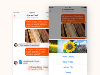 Jive Chime: File Sharing messaging im chat download upload preview box dropbox icons files file sharing attachments