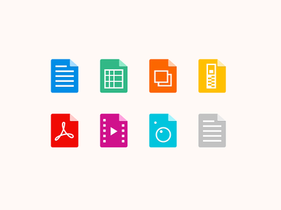 Jive Chime: file icons flat icons movie pdf zip spreadsheet excel doc file types file icons files icons