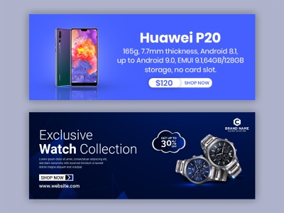 Web Banner product promo design graphic design facebook post advertising facebook cover design template twitter banner ads branding smartphone banner watch banner product promotion social media post banner tenplate linkedin banner facebook cover banner web banner