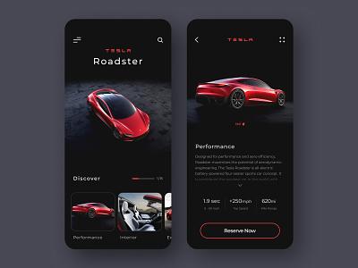 Tesla Mobile App Design clean ui trend minimal dark sport ui design ui smart car mobile design electric electric car automotive dark theme dark mode car app dark ui tesla