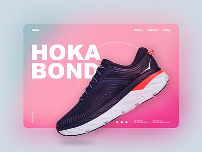 Hoka Bondi shoes run fashion hoka clean new popular minimal rebound webdesign web inspiration sport design interface ux ui figma shot