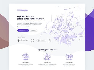 HistoryLab brown purple microsite website design minimal light illustrated web illustration index onepage web website