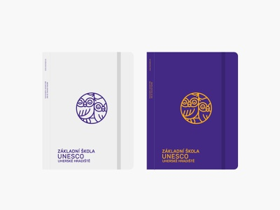 ZŠ UNESCO identity branding and identity logodesign stationary notepad badge owls invert purple monolinear circle logo icon owl minimal linear icons linear logo visual identity identity branding