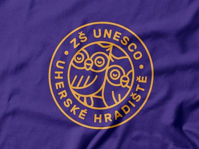 ZŠ UNESCO identity design cute elementary kids school visual identity purple owl owls monolinear minimal logo design logo linear icons linear identity icon circle logo branding badge