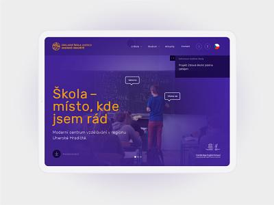 ZŠ UNESCO web kids school index homepage design photography purple illustration homepage typography grid layout webdesign design clean branding website web minimal