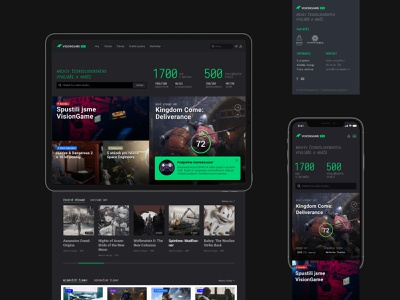 VISIONGAME Homepage project data game art statistics online website web webdesign dark flat games homepage index app interface game ux ui database archive