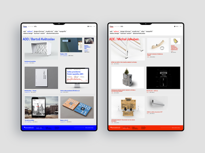 23 design red royal blue grid layout menu navigation bar identity portfolio works design school student school university minimal typography web webdesign