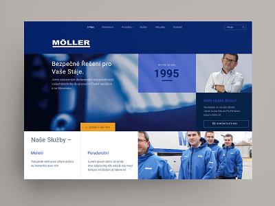 Möller homepage design homepage jumbotron index header colorful minimal box grid clean web company business web royal blue grid layout blue website design website webdesign