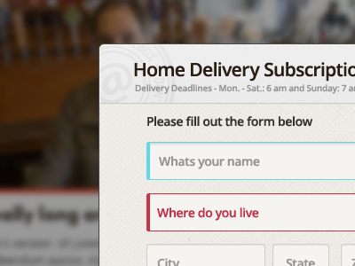 Delivery form