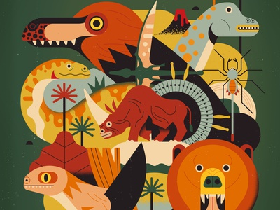 Lost Worlds owen davey animals evolution nature history dinosaurs editorial folioart digital illustration