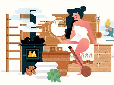 Spa sally caulwell vector woman spa character editorial folioart digital illustration