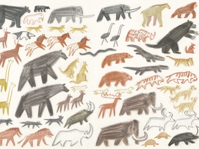 Ice Age folioart history evolution nature sketch pencil william grill childrens book animals drawn illustration