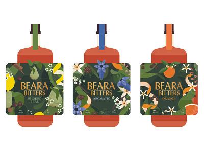 Beara Bitters pattern floral fruits botanical sally caulwell packaging design vector folioart digital illustration