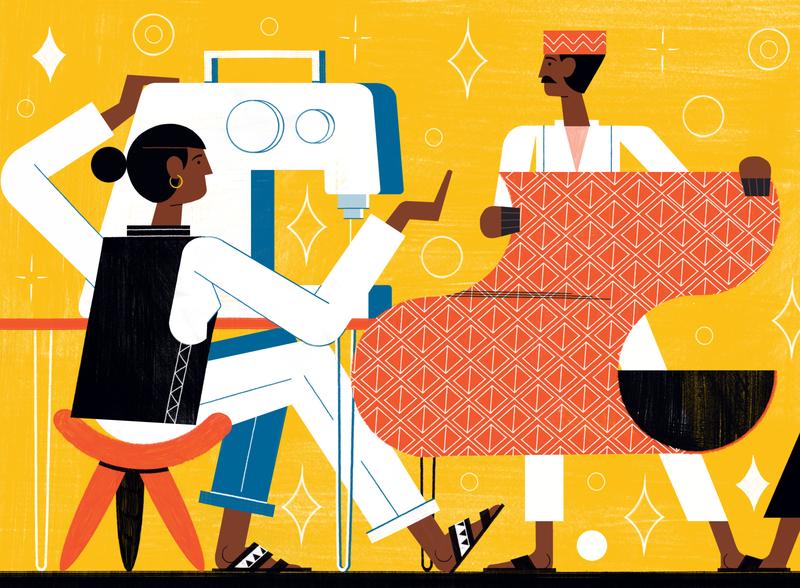 Sustainable Fashion michael driver culture fashion african character editorial folioart digital illustration