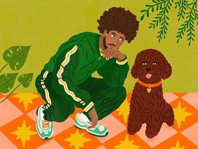 Dope Dad bodil jane fashion pattern dog character folioart digital illustration