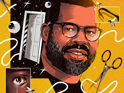 Jordan Peele surreal alexander wells conceptual portrait actor tv character folioart digital illustration