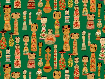 Kokeshi Dolls bodil jane line drawn faces dolls culture pattern folioart digital illustration
