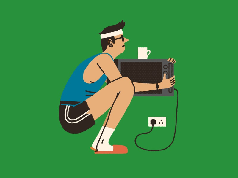 Work(out) From Home michael parkin people home exercise humour character folioart digital illustration