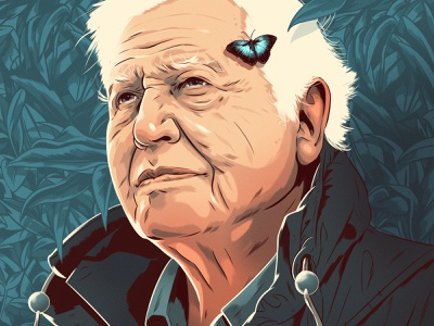 David Attenborough alexander wells butterfly leaves david attenborough wildlife portrait folioart digital illustration