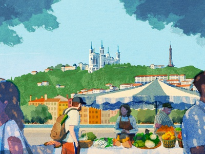 Lyon hifumiyo market food retro texture travel landscape character editorial folioart digital illustration