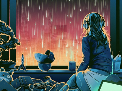 You There home window alexander wells cityscape rain graphic woman interior folioart digital illustration