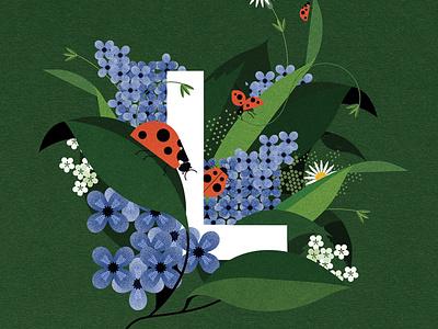 Ladybird sally caulwell vector pattern floral plants wildlife botanical nature alphabet folioart digital illustration