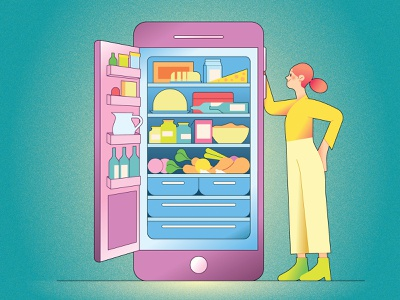 Ocado Zoom kiki ljung lifestyle food texture vector character editorial folioart digital illustration