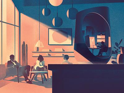 Listening in karolis strautniekas texture interior technology conceptual editorial folioart digital illustration