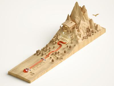 Thermowoods studio jvg nature environmental climate landscape cgi folioart digital illustration