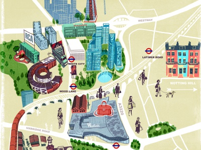 White City Living alex green buildings architecture london line drawn folioart digital illustration map