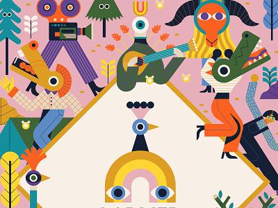 Larmer Tree owen davey graphic poster design festival colourful nature vector character folioart digital illustration