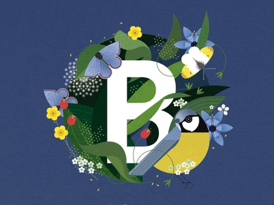 B is for... sally caulwell spring children alphabet wildlife botanical nature vector folioart digital illustration
