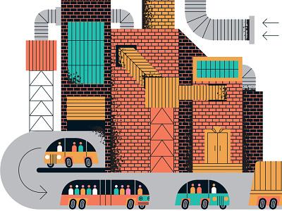 Automakers & Startups industrial john devolle inforgraphic line vector editorial folioart digital illustration