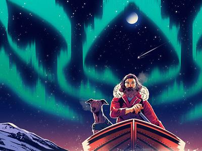 Open Skies night astronomy sky travel landscape dog character folioart digital illustration