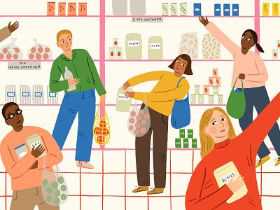 Supermarket Swerve amelia flower procreate colourful people food lifestyle character folioart digital illustration