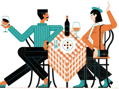French Brasserie michael driver restaurant cuisine france food travel character editorial folioart digital illustration