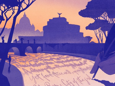Poets of Rome texture eleni debo conceptual silhouette city landscape travel rome folioart digital illustration