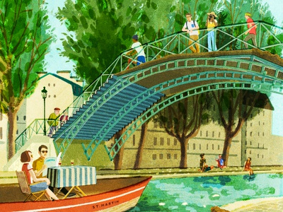 Canal St Martin hifumiyo travel tourism city retro texture character editorial folioart digital illustration