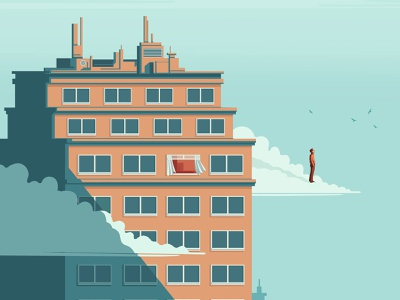 Taking a Break stephan schmitz mental health conceptual building editorial folioart digital illustration