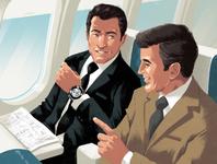 Talk to Strangers vintage retro rui ricardo business flight travel characters editorial folioart digital illustration