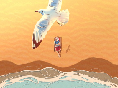 Beach Life sun alexander wells seagull relax holiday beach texture folioart digital illustration