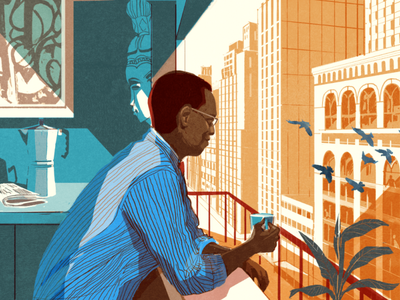 Alvin Hall alex green coffee city portrait editorial folioart digital illustration