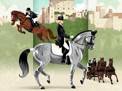 Windsor castle traditional vintage rui ricardo jockey landscape horse advertising poster folioart digital illustration